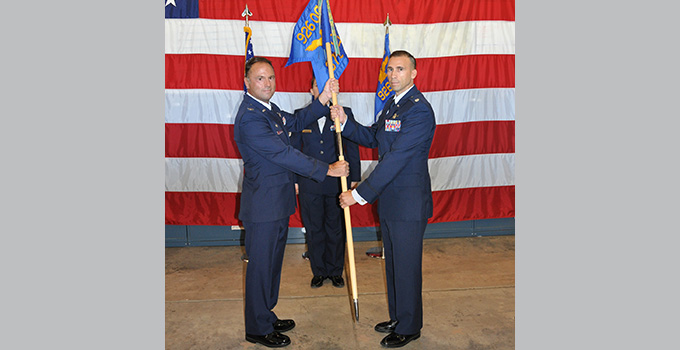 Carrero receives 379th Space Range Squadron guidon as new commander